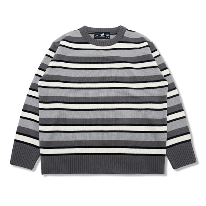 뉴해빗 - CREAMER STRIPE SWEATER_CHARCOAL (GNTDA-149)